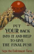 "Vintage  Irish WW1""Put your back into it and help to give the final push"" Poster"